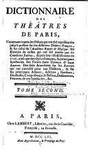 Dictionnaire des théatres de Paris