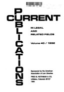 Current Publications In Legal And Related Fields