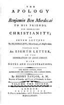 The Apology Of Benjamin Ben Mordecai To His Friends  For Embracing Christianity