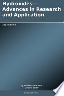 Hydroxides Advances In Research And Application 2013 Edition