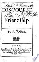A discourse of friendship