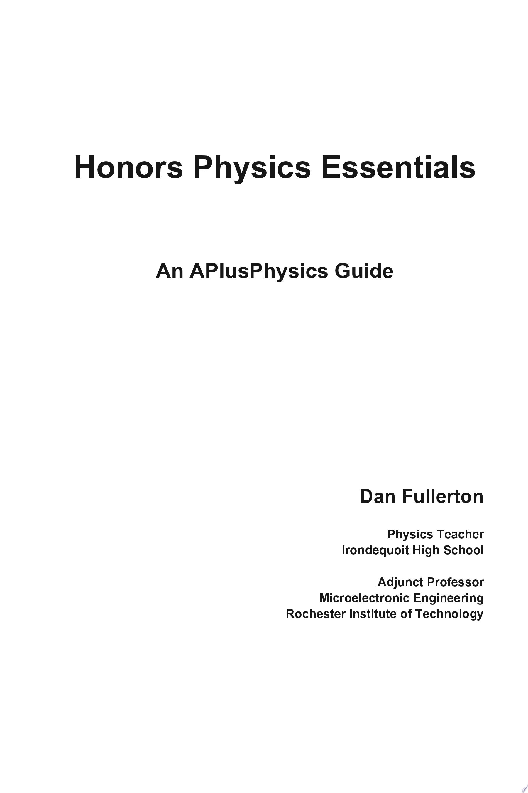 Honors Physics Essentials