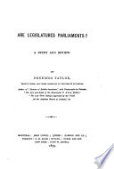 Are legislatures parliaments? A study and review