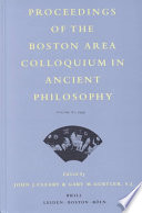 Proceedings of the Boston Area Colloquium in Ancient Philosophy, Volume XV, 1999