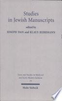 Studies In Jewish Manuscripts