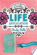 NLT Girls Life Application Study Bible  Leatherlike  Teal Pink Flowers