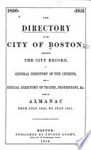 The Directory Of The City Of Boston