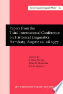 Papers From The Third International Conference On Historical Linguistics Hamburg August 22 26 1977