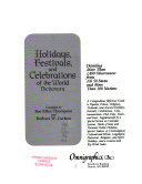 Holidays  Festivals  and Celebrations of the World Dictionary