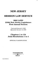 New Jersey Session Law Service Book