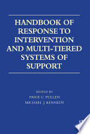Handbook of Response to Intervention and Multi Tiered Systems of Support