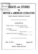 Essays and Studies in British and American Literature
