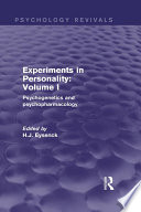 Experiments in Personality  Volume 1  Psychology Revivals  Book