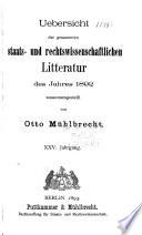 Allgemeine Bibliographie Der Staats- und Rechtswissenschaften