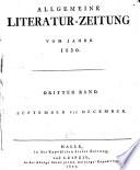 ALLGEMEINE LITERATUR-ZEITUNG VOM JAHRE 1820