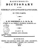 Rabenhorst's Dictionary of the German and English Languages in Two Parts. By G. H. Noeden ... Part 1.[-2.]