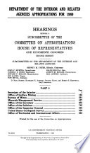 Department of the Interior and related agencies appropriations for 1989