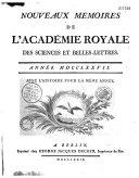 Mémoires de l'Académie royale des sciences et belles-lettres depuis l'avénement de Fréderic Guillaume III au trône avec l'histoire pour le même temps