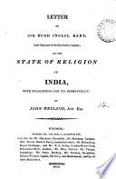 Letter To Sir Hugh Inglis On The State Of Religion In India