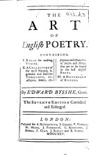 The Art of English Poetry     The sixth edition corrected and enlarged   First volume