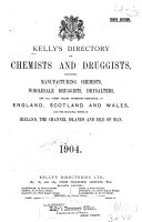 Kelly S Directory Of Chemists And Druggists