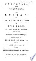 Proposals For Printing By Subscription The Lusiad Or The Discovery Of India To Which Is Prefixed The History Of India By William Julius Mickle