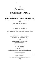 An Analytical Digested Index to the Common Law Reports