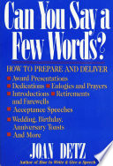 Can You Say A Few Words  Book PDF