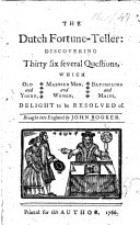 The Dutch Fortune Teller  etc