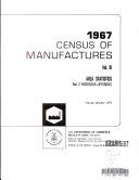 Census of Manufactures, 1967, Vol. 3:Area Statistics