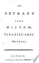 An Extract from Milton s Paradise Lost  With Notes