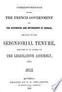 Documents relating to the seigniorial tenure in Canada