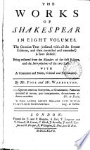 The Works Of Shakespear In Eight Volumes