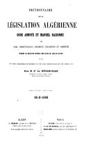 Dictionnaire de la législation algérienne