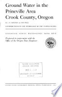 Ground Water In The Prineville Area Crook County Oregon PDF