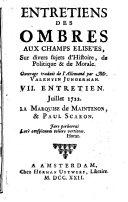 Entretiens des ombres aux Champs Elisées, sur divers sujets d'histoire de politique et de morale
