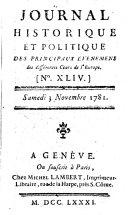Journal historique et politique des principaux événements des différentes cours de l'Europe