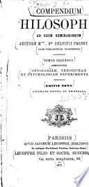 Compendium Philosophiae Ad Usum Seminariorum