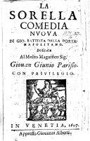 La Sorella. Comedia in five acts and in prose