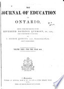 The Journal of Education for Ontario Book