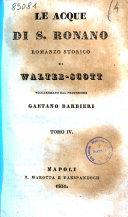 Le acque di S. Ronano romanzo storico di Walter-Scott