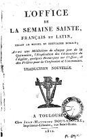 L'Office de la Semaine Sainte latin et français