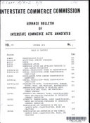 Advance Bulletin Of Interstate Commerce Acts Annotated