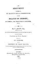 Pdf An Argument Addressed to His Majesty's Royal Commissioners in the Island of Jersey ...