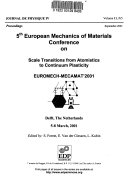 5th European Mechanics of Materials Conference on Scale Transitions from Atomistics to Continuum Plasticity Book