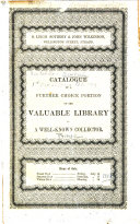 Catalogue Of A Further Portion Of The Valuable Library Of A Well Known Collector Prince