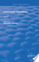 Insect Plant Interactions Book