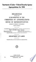 Department of Labor-Federal Security Agency Appropriations for 1954