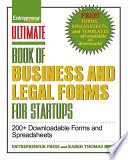 Ultimate Book Of Legal And Startup Forms