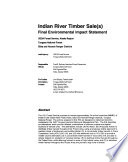 Tongass National Forest (N.F.), Indian River Timber Sale(s)
